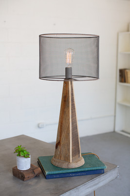 Table Lamp With Mesh Shade Wooden Base Tall