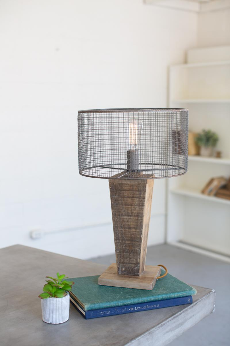 Table Lamp With Mesh Shade With Wooden Base \ Short