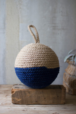 JUTE ROPE SPHERE - NATURAL AND BLUE