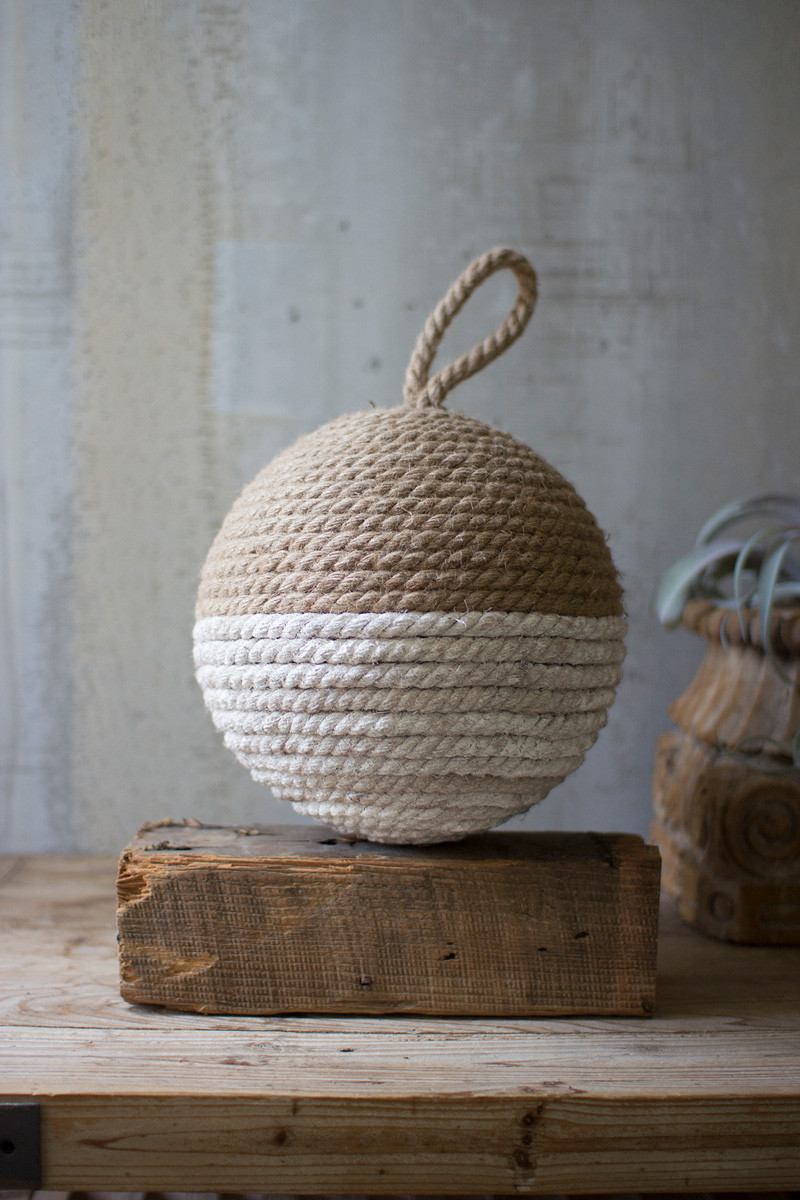 JUTE ROPE SPHERE - NATURAL AND WHIT