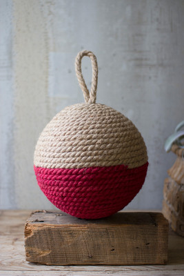 JUTE ROPE SPHERE - NATURAL AND RED