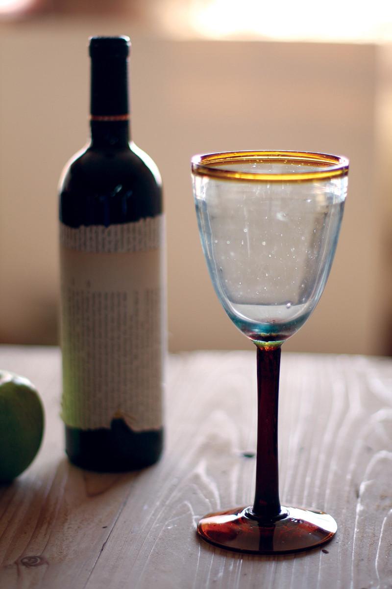 set of 6 rustic wine glasses - amber