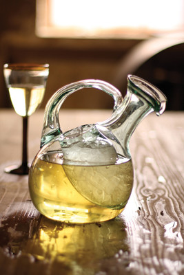 tilted wine decanter with ice pocket