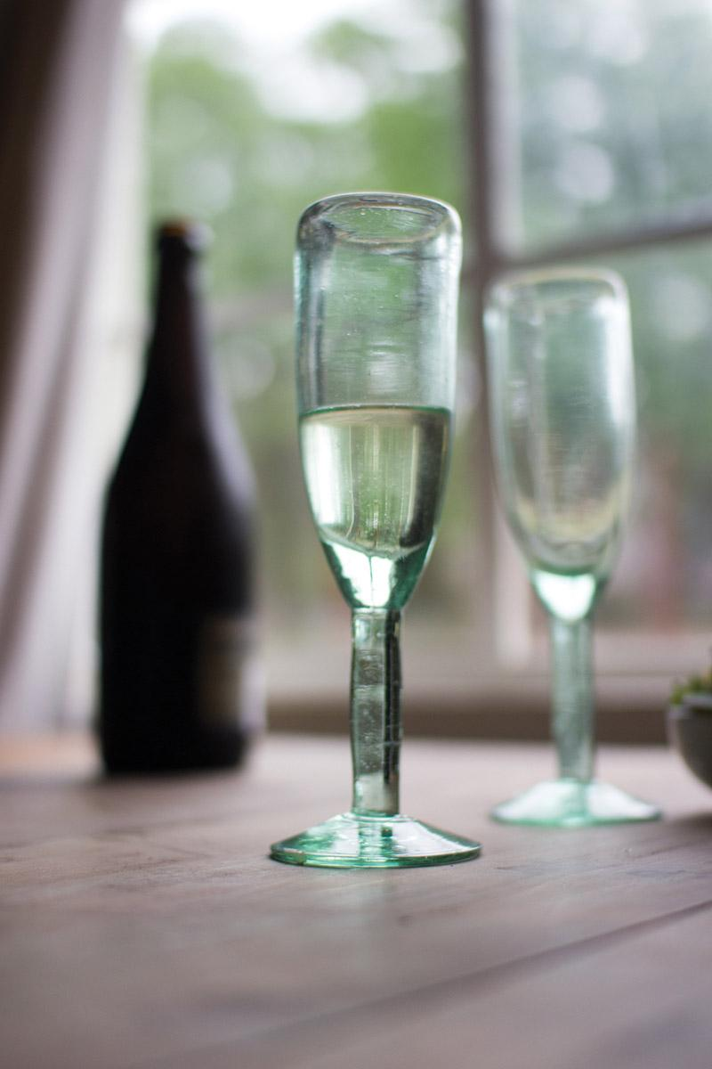 recycled glass champagne flute - rustic
