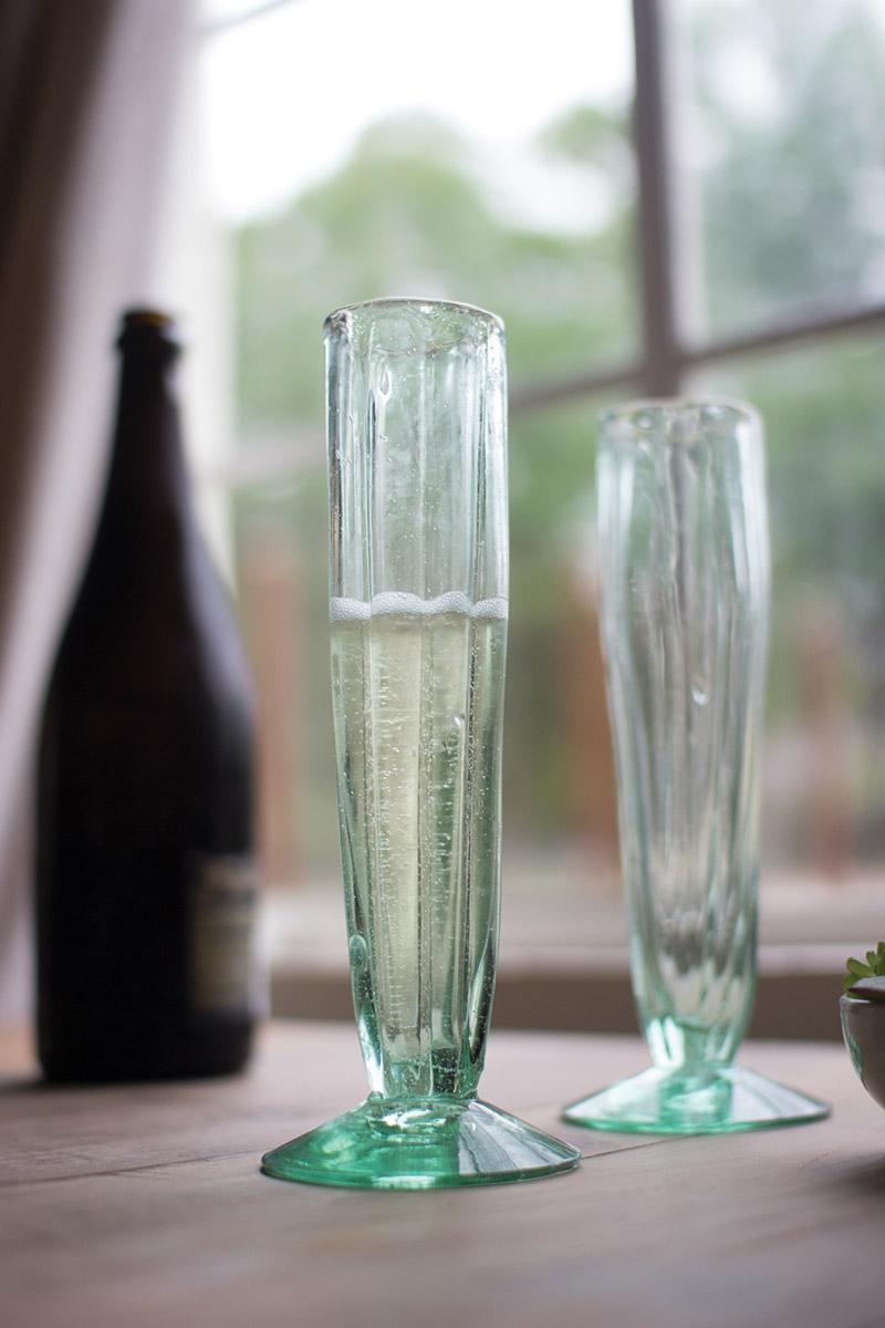 Set Of 6 Recycled Glass Champagne Flute Fluted Cone