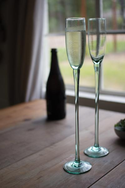 recycled glass champagne flute - sky high