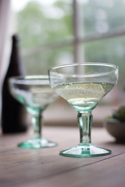 Set Of 6 Recycled Glass Champagne Flute Sky High
