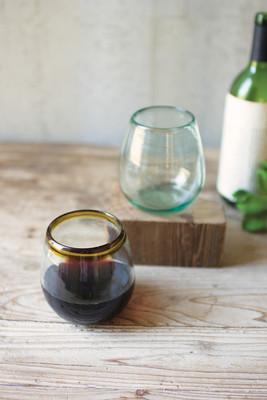 set of 6 stemless wine glass - amber