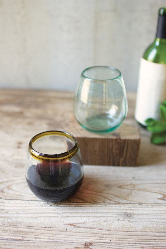 Set of 6 Recycled Stemless Wine Glasses with Amber Rim