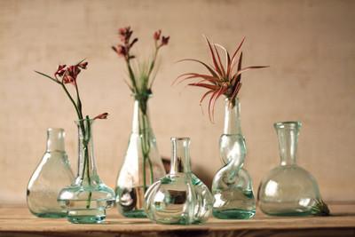 Set of 6 Recycled Glass Bottle Bud Vases