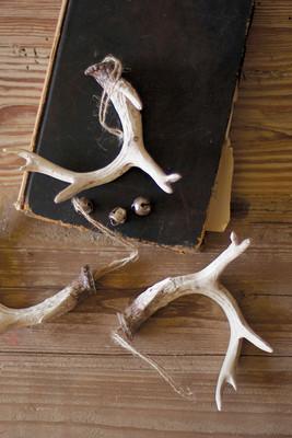 Set of 6 natural resin antler ornaments
