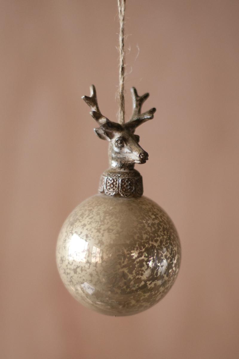 set of 6 glass balls with deer christmas ornament