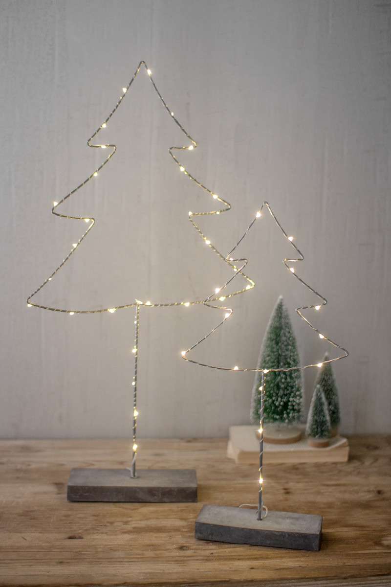Set Of Two Metal Trees With Led Lights Cement Base