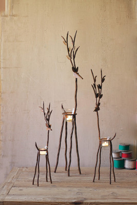Set of 3 iron reindeer with tealight cups