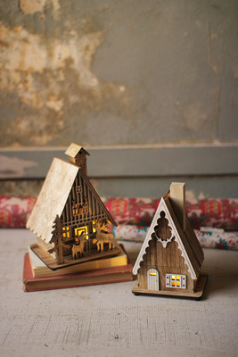 Set Of 2 Wooden Houses With Led Lights