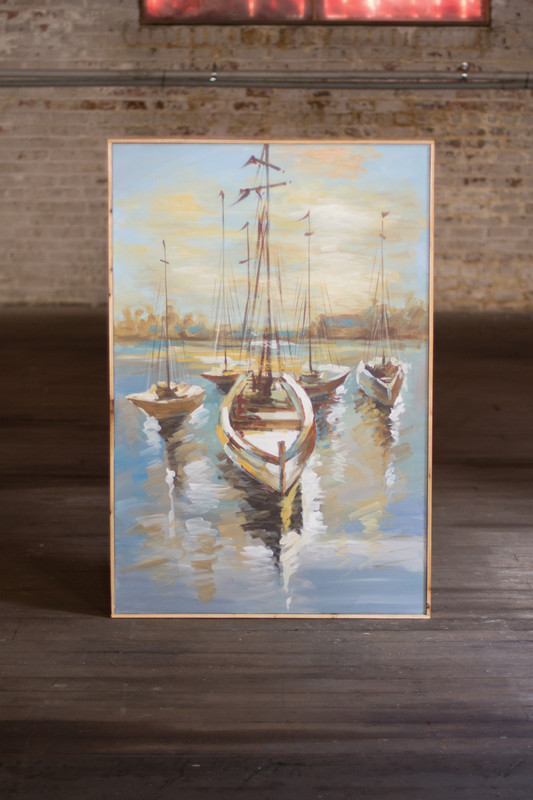 oil painting - sailboats in the harbor