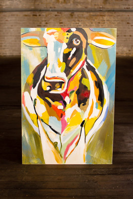 oil painting - multi-colored cow