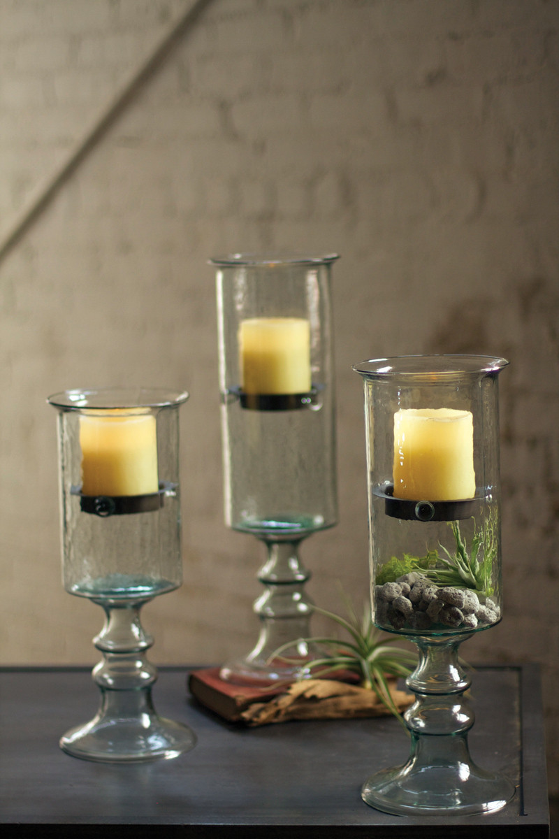 Medium Mini Glass Candle Cylinder With Metal Insert And Glass Base