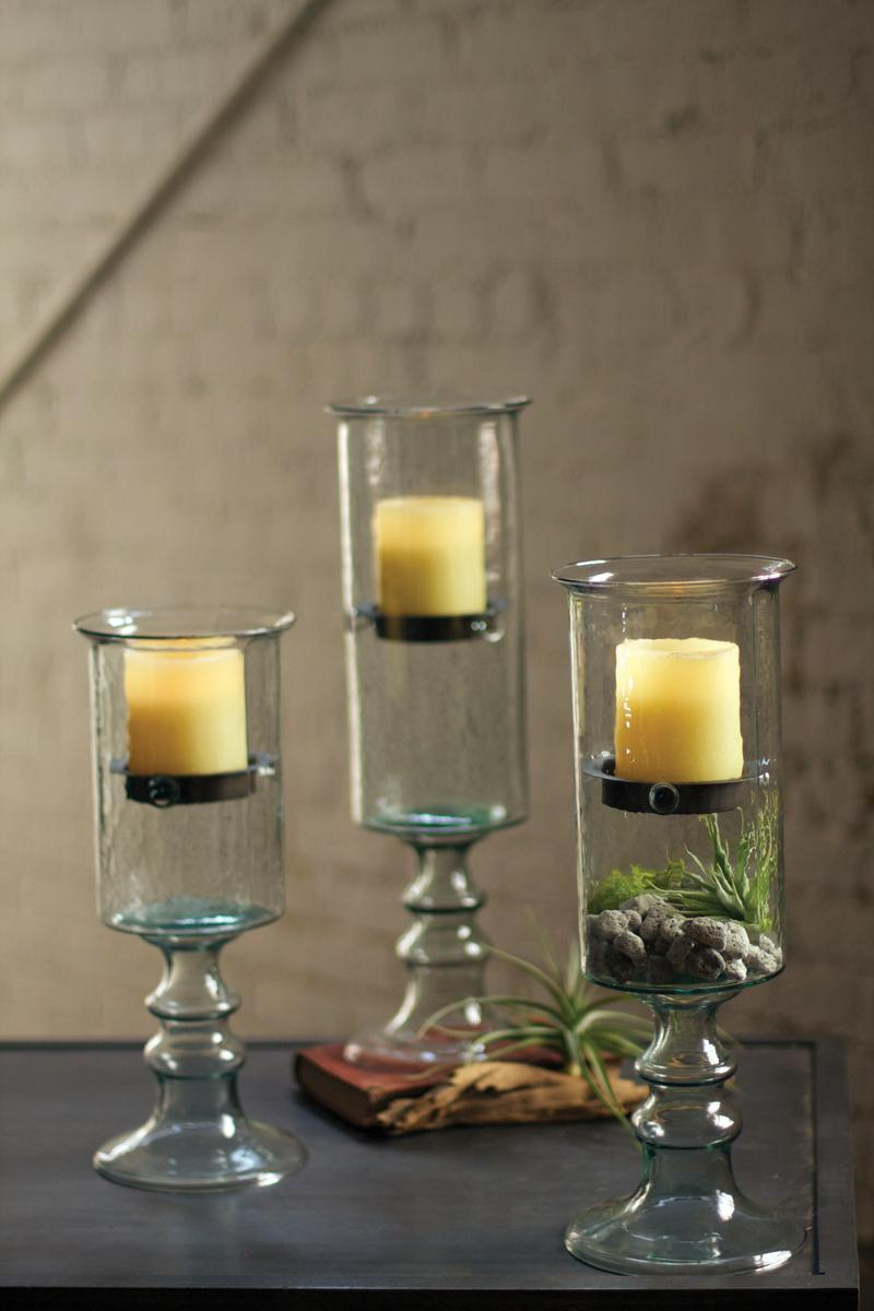 medium mini glass candle cylinder with metal insert and