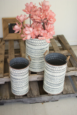 PRESSED TIN BUCKETS WOODEN HANDLES