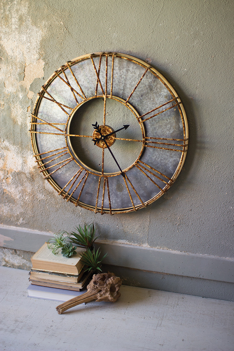 Metal Wall Clock With Roman Numerals