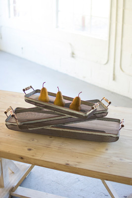 GALVANIZED RECTANGLE TRAYS W/WOODEN