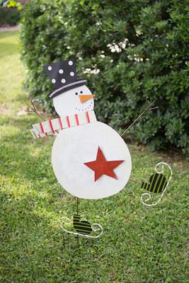 Skating Snowman Yard Art