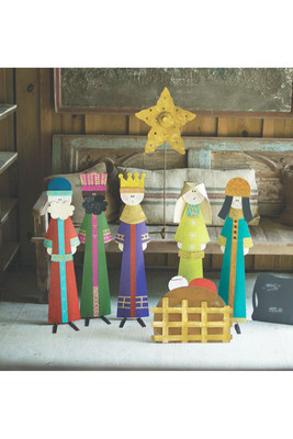 set of 8 christmas painted metal nativity - What Day Does Christmas Fall On