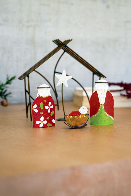 Handcrafted Metal Nativity with Stable