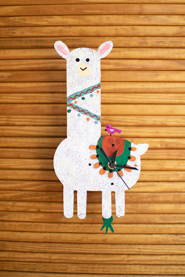 Hand-Painted Metal Llama Clock