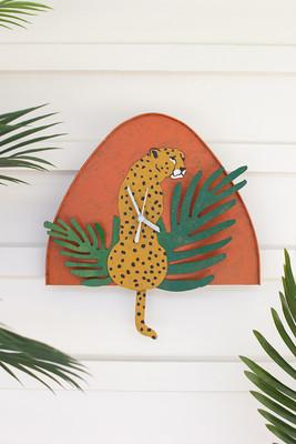 Hand-Painted Metal Cheetah Clock
