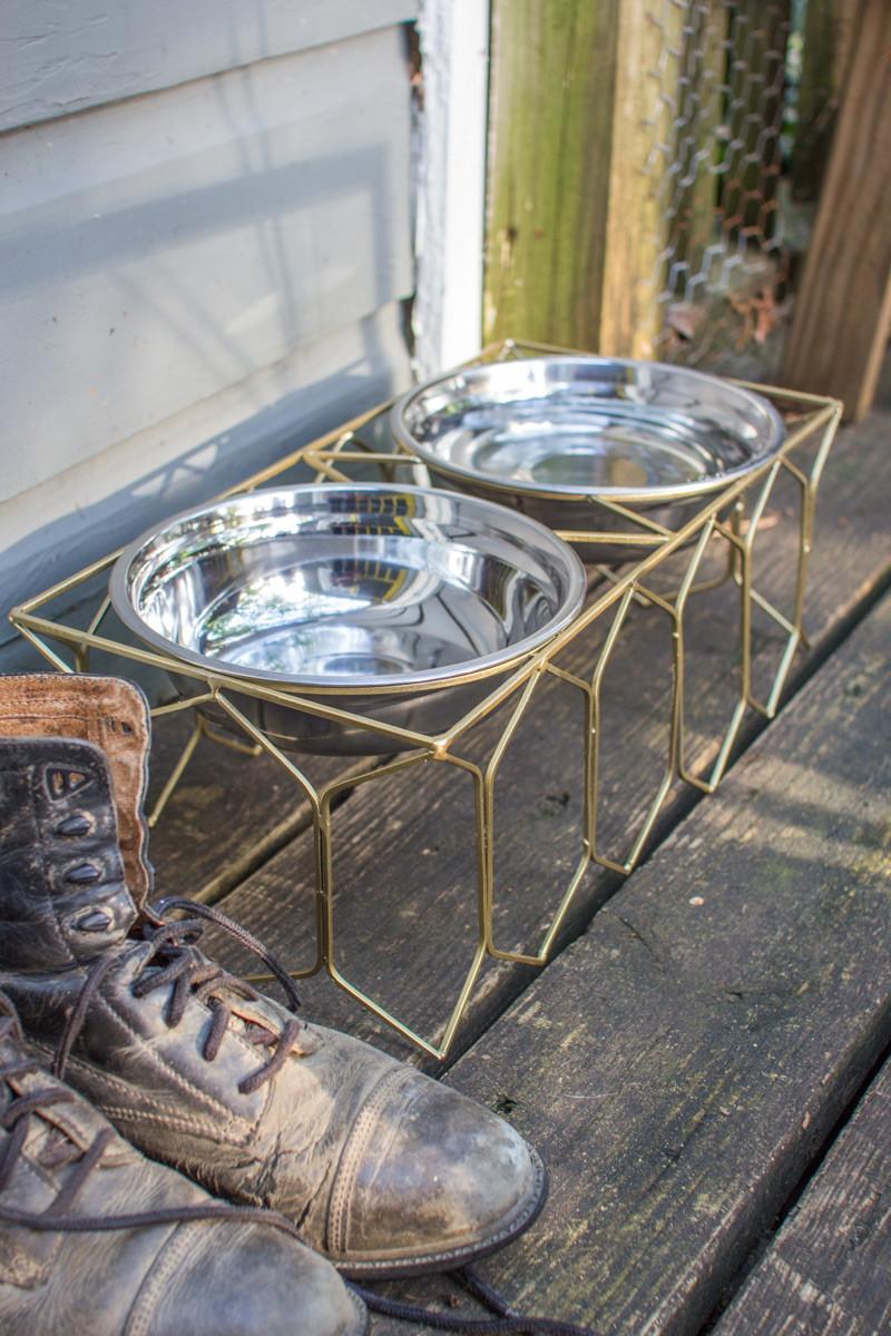 double metal dog feeder large