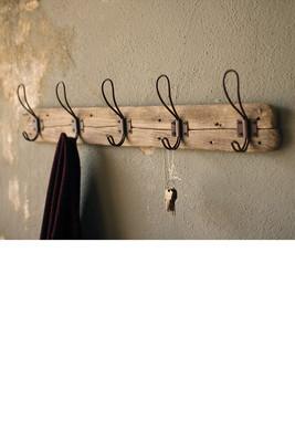 Wooden Coat Rack with Rustic Hooks