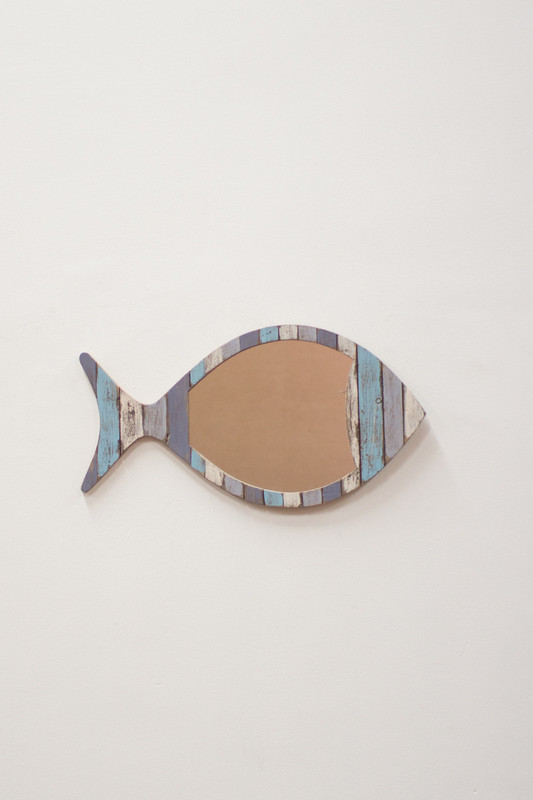 reclaimed wooden fish mirror