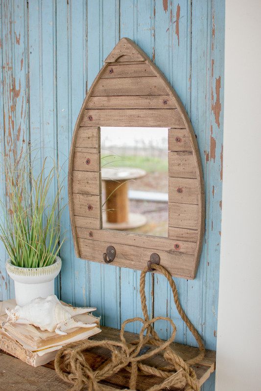 wooden boat shape mirror