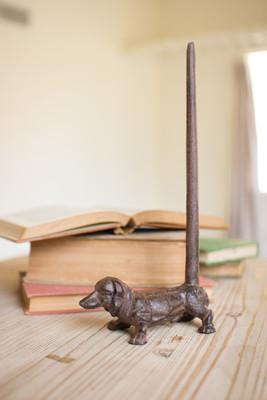 cast iron dachshund paper towel holder