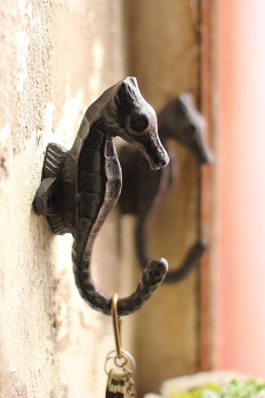 cast iron sea horse hook