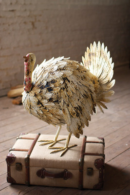 antique white painted metal turkey