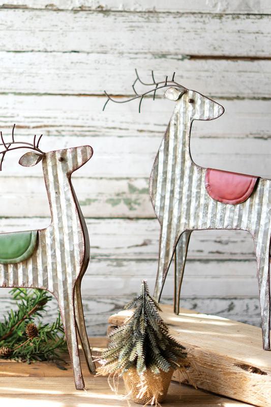 Set of 2 Whimsical Metal Reindeer