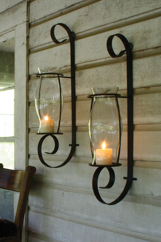 metal curling wall sconce