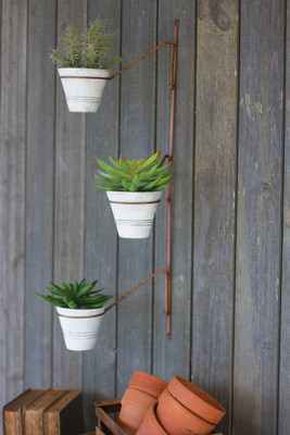 SWIVEL FLOWER POTS WALL HANGING
