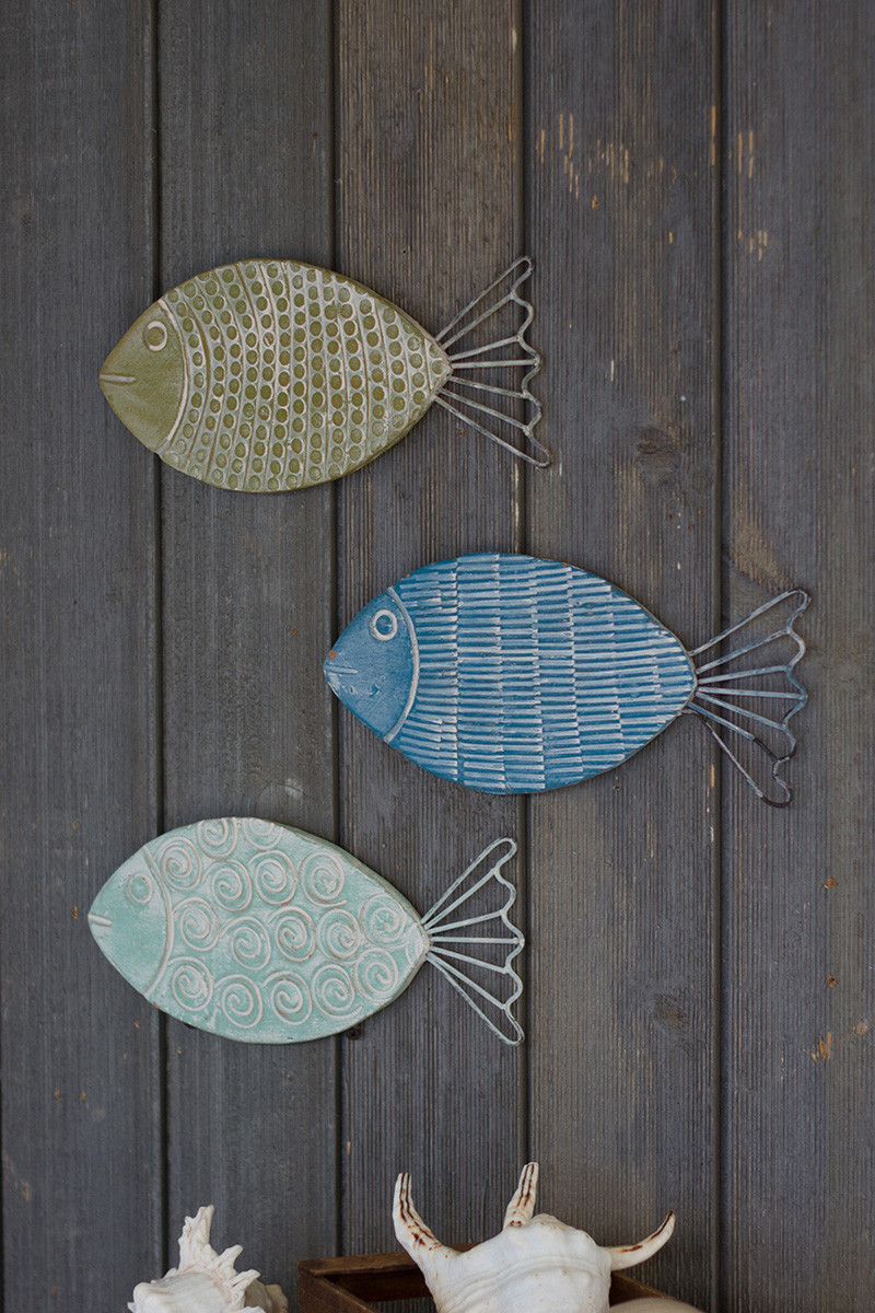 set of 3 seaside wire and clay fish wall hangings