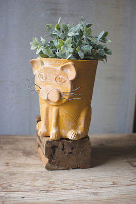 YELLOW CLAY CAT PLANTER