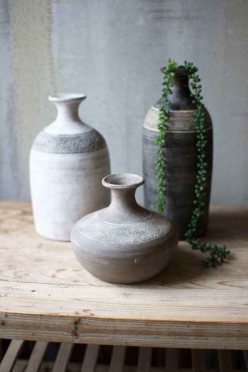 BLACK GREY AND WHITE CLAY VESSELS