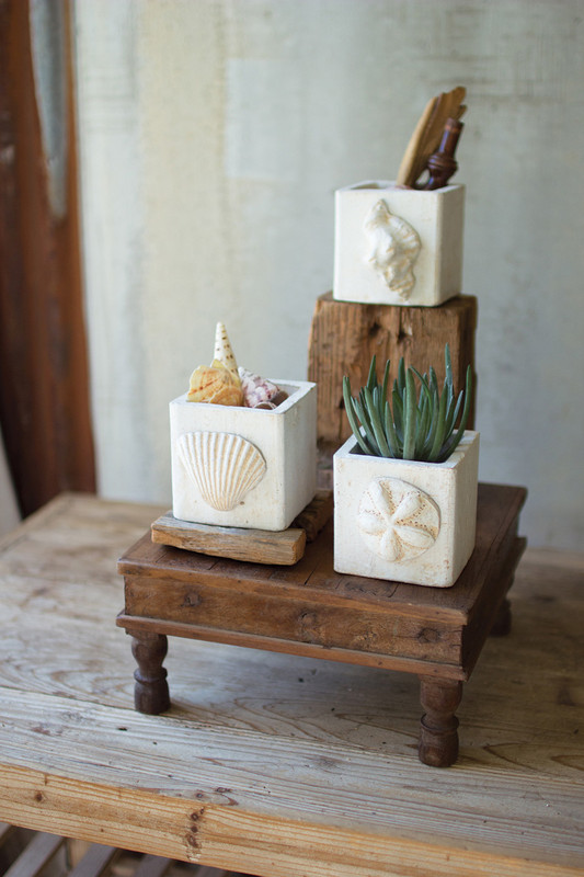 WHITE WASHED CLAY SEASHELL PLANTERS