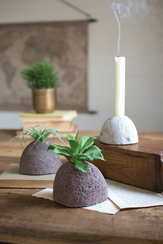 set of three river stone candle holders/planters