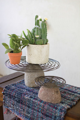 set of two wild wire display stands with river stone bases