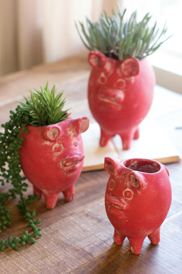 set of three red tall clay pig planters