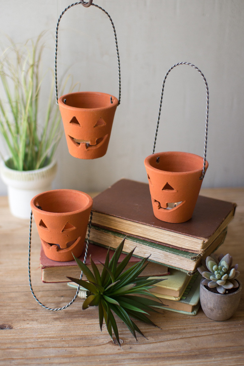 Clay Jack O Lanterns With Wire Handles