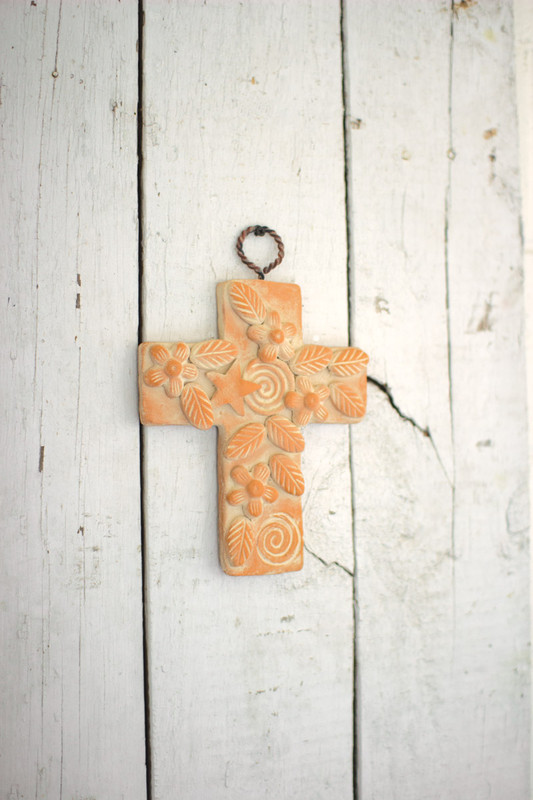 hanging clay eternity cross